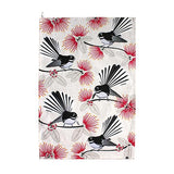 Flirting Fantails Tea Towel Cream