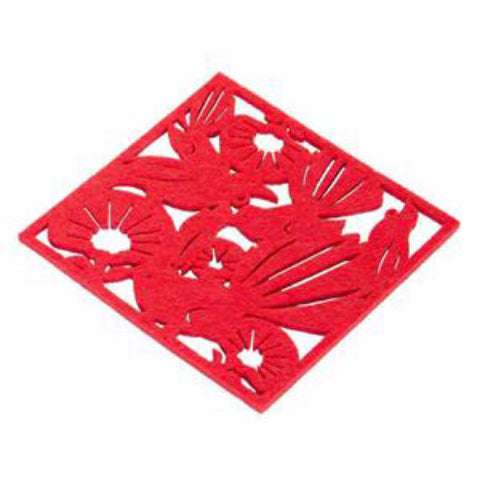 Flora & Fauna Felt Coaster - Red
