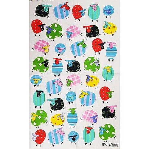 Kiwiana Tea Towel - Patchwork Sheep