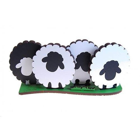 One Black Sheep - Wooden Coloured Coasters Set of 4