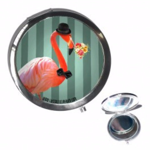 Quirky Animal Compact Mirror - Flamingo