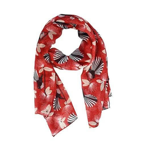 Scarf - Flirting Fantails - Red