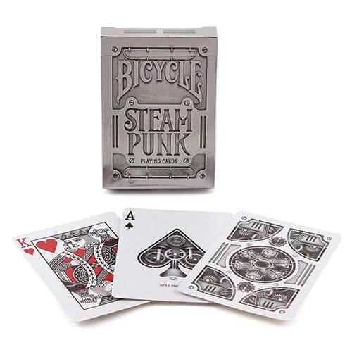 Steampunk Playing Cards - Silver - Bicycle Brand