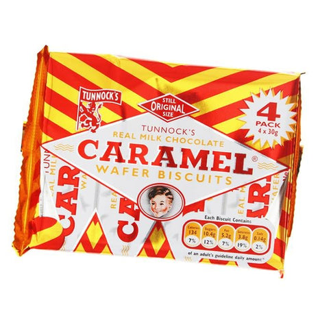 Tunnocks Caramel Wafers 4pk - 120g