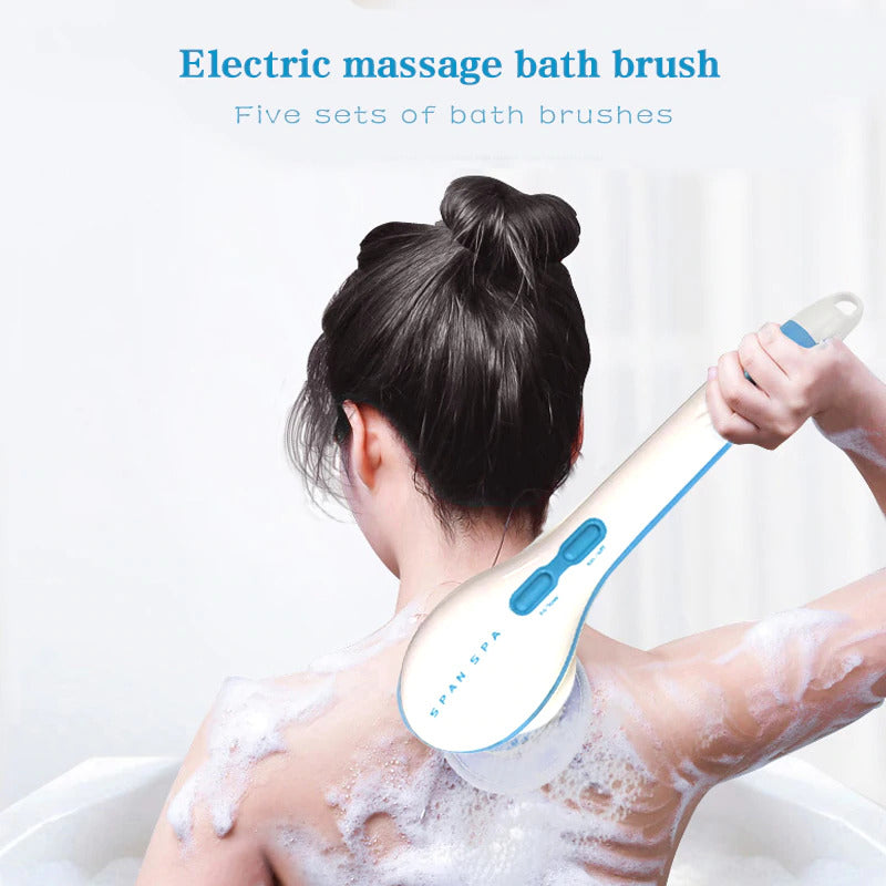 5 In 1 Electric Bath Shower Brush Exfoliation Spin Spa Massage Body Clean Brush Electric Massage Multi-Function Bath Brush Tool