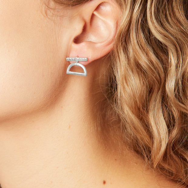Half Moon Drop Earrings Silver 1