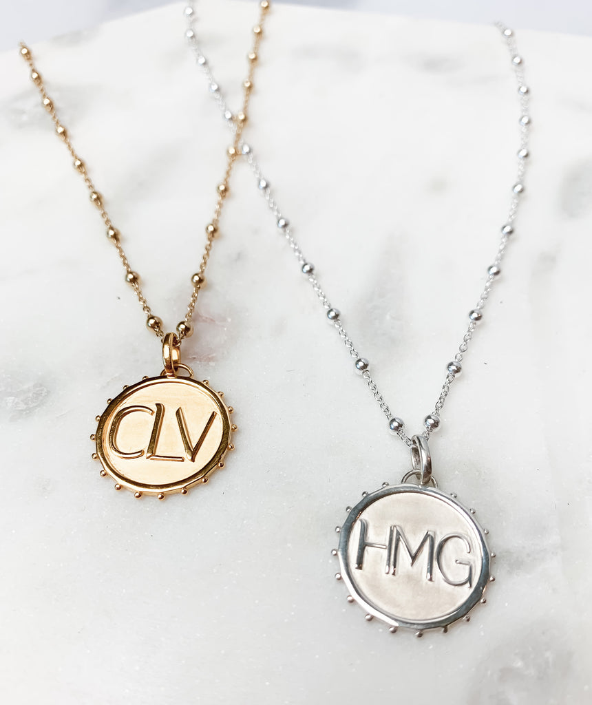 Gold and silver  Initial Coin Necklaces with beaded chain