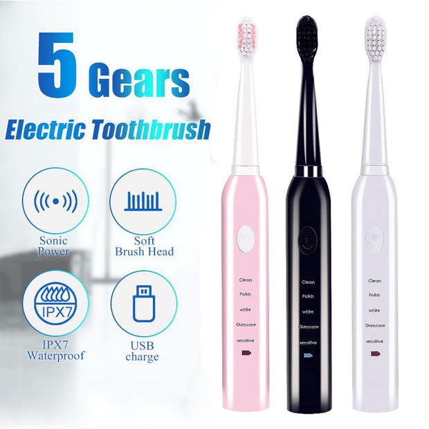 Rechargeable toothbrushes Washable Electronic Powerful Ultrasound.