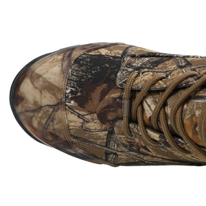 These rugged hunting boots for men offers 9 inch mid calf upper that features breathable denier nylon with exclusive Daybreak camo print/molded toe/heel reinforcements/steel shank midsole/fully insulated lining.