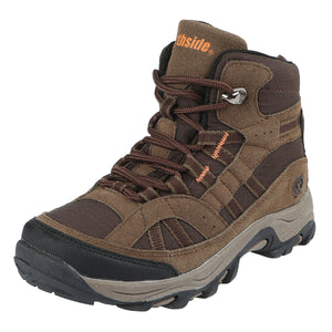 These kids' hikers offer rugged suede upper that features breathable ripstop nylon/abrasion resistant toe guard/heel stabilizer.
