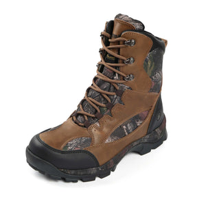 These rugged men's hunting boots offer leather 9 inch mid calf upper features 600 denier nylon inserts with exclusive Daybreak camo print/protective toe/heel caps/steel shank midsole/fully insulated lining.