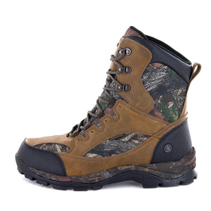 "The Renegade men's hunting boots have a 9.5"" tall cuff offering full ankle support and protection for uneven ground. Constructed of leather and Daybreak Camo nylon/it features a molded mudguard/a heel stabilizer/a waterproof membrane to help you keep your"