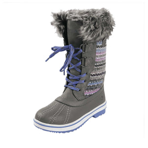 This girly winter boot features rugged faux leather mid calf upper features knitted panels/soft faux fur around the collar/lightweight tumbled vegan leather shell with fully cushioned lining.