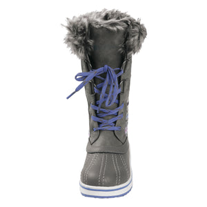 Girl's outdoor tall 12 inch snow boot offers fashionable design to keep your feet cozy on cold winter days; gusseted tongue keeps debris out. D-ring quick lace up closure allows for easy/secure adjustments.
