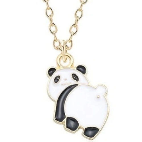 collier panda or noir blanc