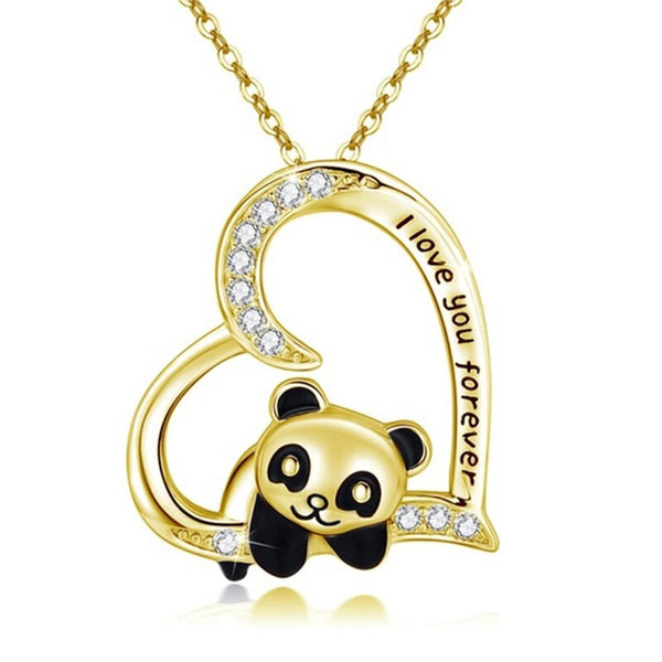 collier panda diamant or