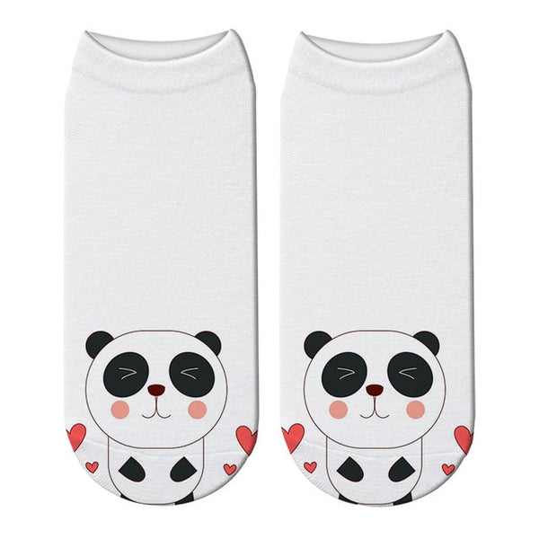 chaussettes ultra courtes panda blanches panda coeur