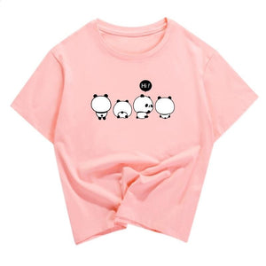 t shirt panda rose de dos