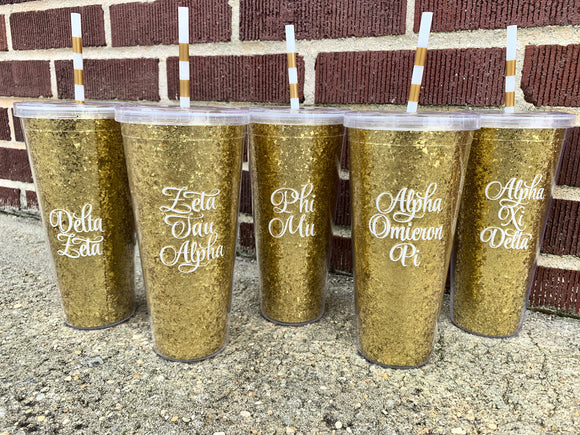 Glitter Greek Straw Cup