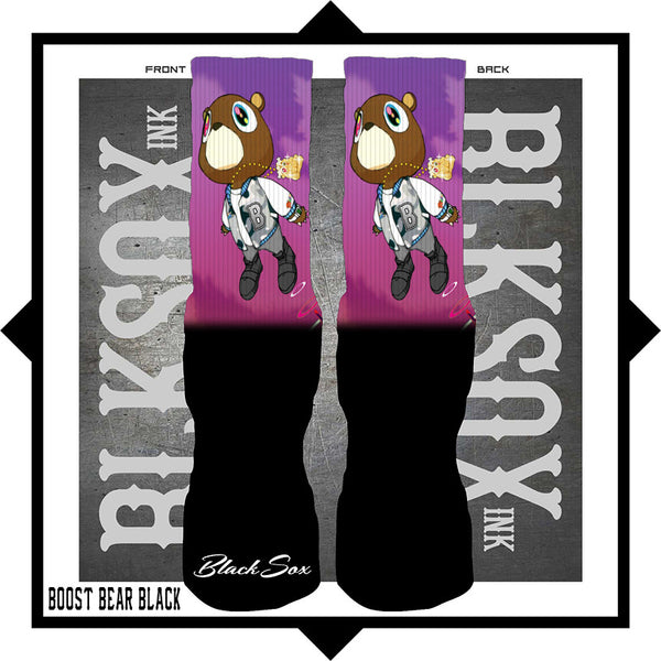 Boost Bear Black Luxury Socks - Black Sox Ink