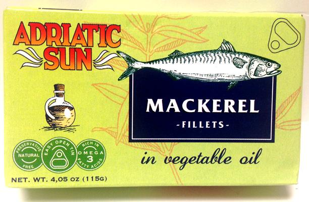 Adriatic Sun Mackerel Fillets in Vegetable Oil, 115g
