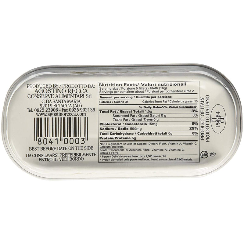 Agostino Recca Flat Fillets of Anchovies in pure Olive Oil, 56g