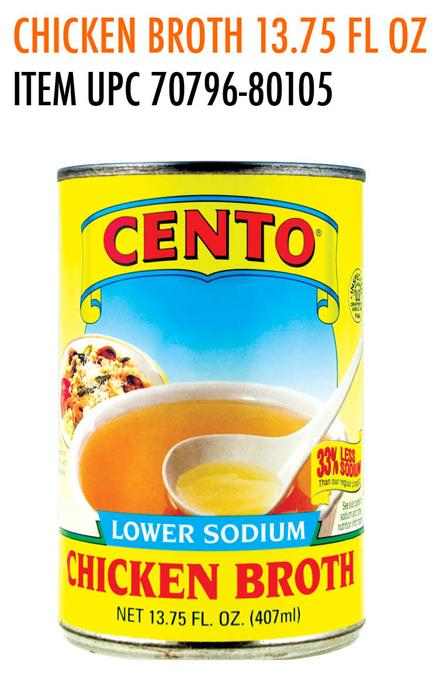 Cento Chicken Broth, Lower Sodium, 13.75 Ounce