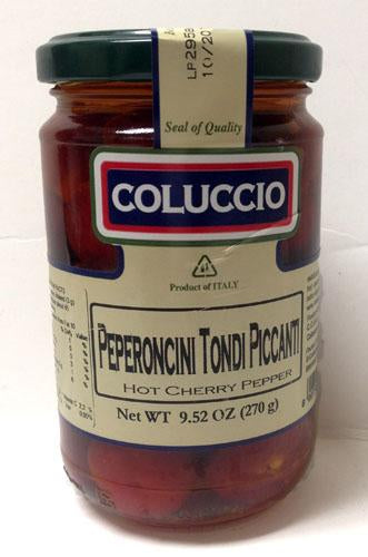 Coluccio Round Hot Chilly Peppers in EVO, 9.52 oz