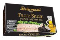 Delamaris Mackerel Fillets with truffles in Olive Oil, 125g Can