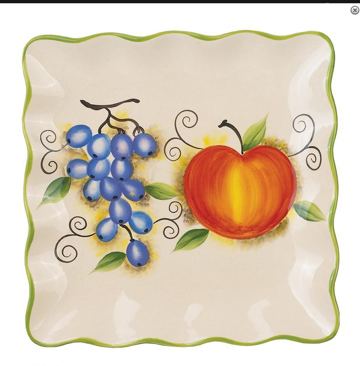 Fruit Design Square Plate 11""