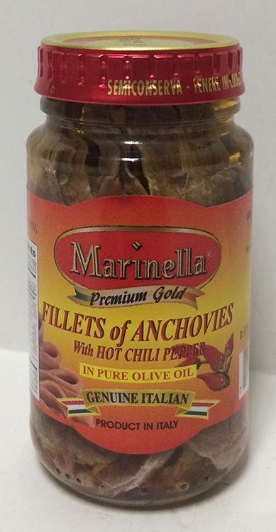 Marinella Anchovies with Hot Chili Pepper in Olive Oil, 140g jar