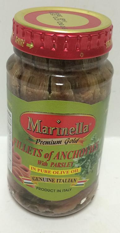 Marinella Anchovies with Parsley in Olive Oil, 140g jar