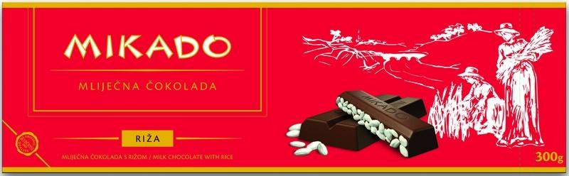 Mikado Milk Chocolate with Puffed Rice Bar, 125g