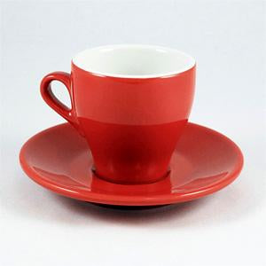 Nuova Point - Milano Espresso Cups and Saucers, Red, Set of 6