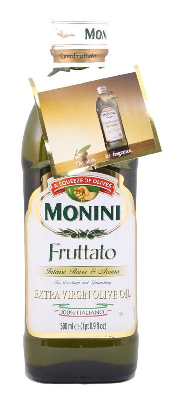 Monini Fruttato Extra Virgin Olive Oil 500mL Glass Bottle