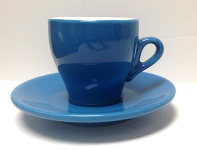 Nuova Point - Cappucino Cups and Saucers, Blue, set of 6