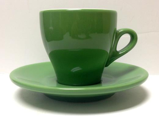 Nuova Point - Cappucino Cups and Saucers, Green, set of 6