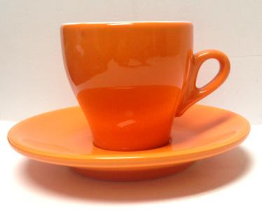 Nuova Point - Cappucino Cups and Saucers, Orange, set of 6