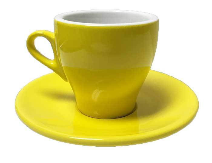 Nuova Point - Cappuccino Cups and Saucers, YELLOW, set of 6
