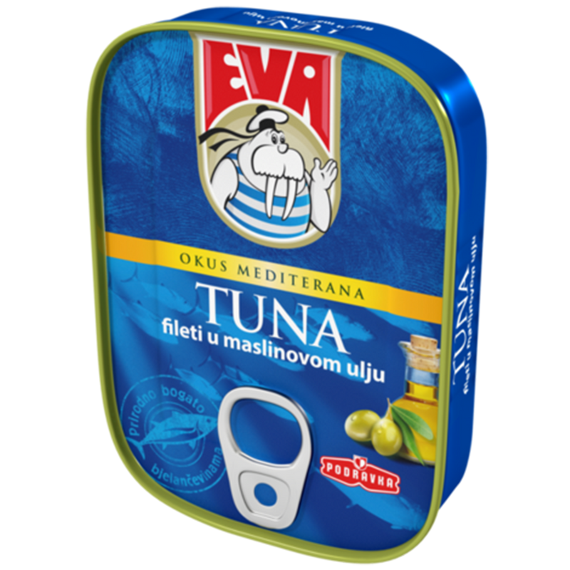 Podravka Eva Light Tuna Fillets in Olive Oil, 4 oz - 115g