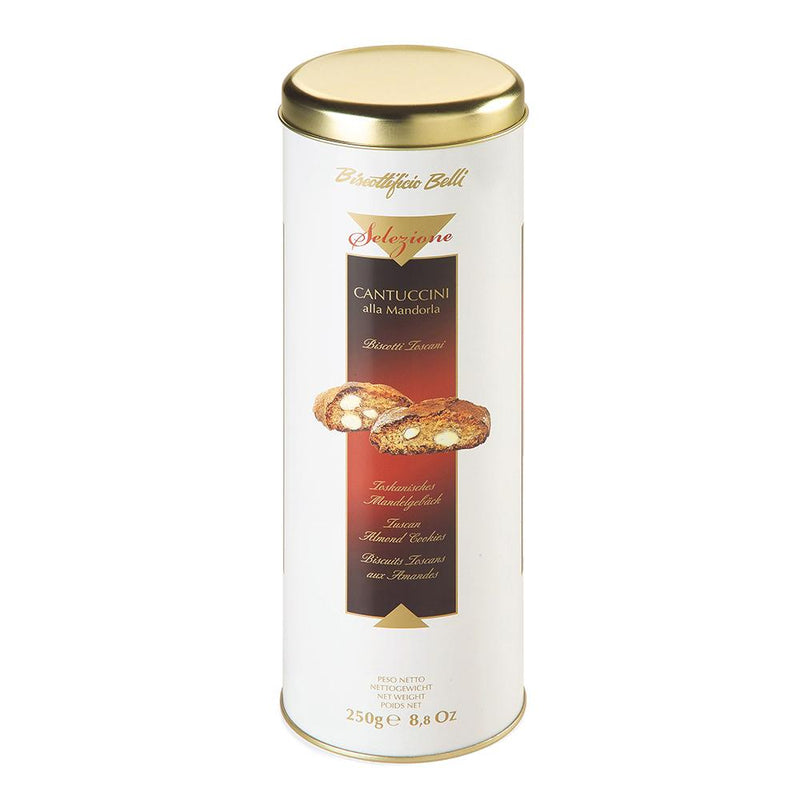 Biscottificio Belli Cantuccini Almond 25%, 8.8 oz Tin