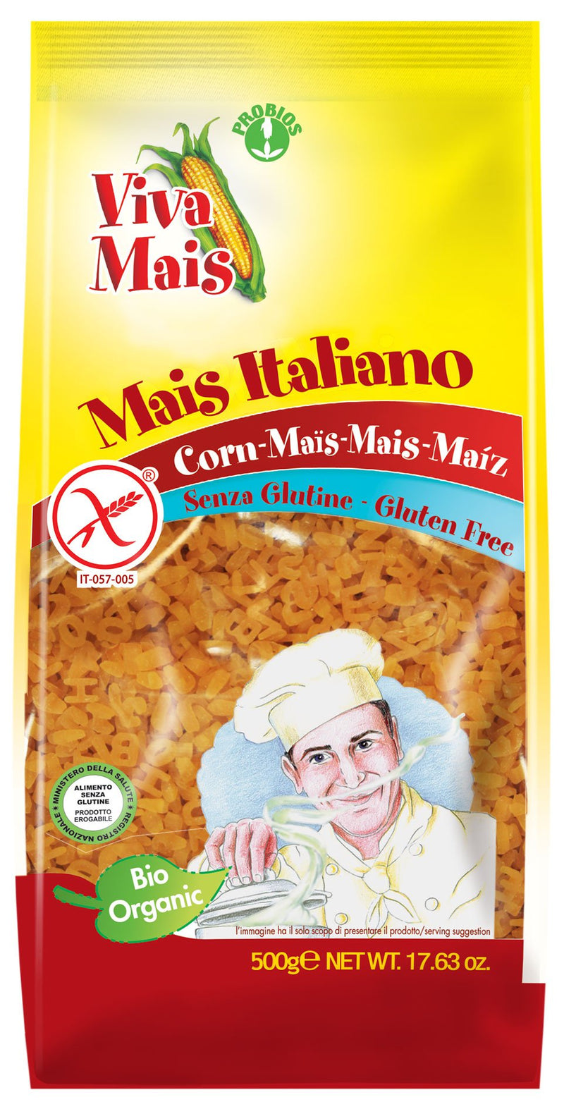 Gluten Free 100% CORN ALFABETO (small pasta for soup), 500g