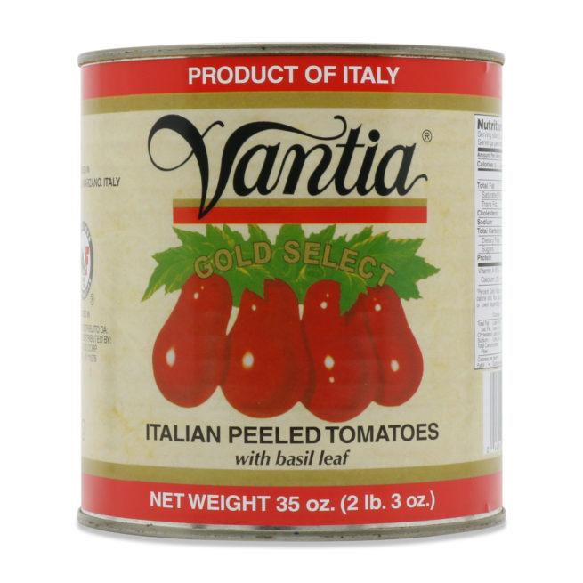 Vantia Gold Select Italian Peeled Tomatoes w Basil Leaf, 35 oz