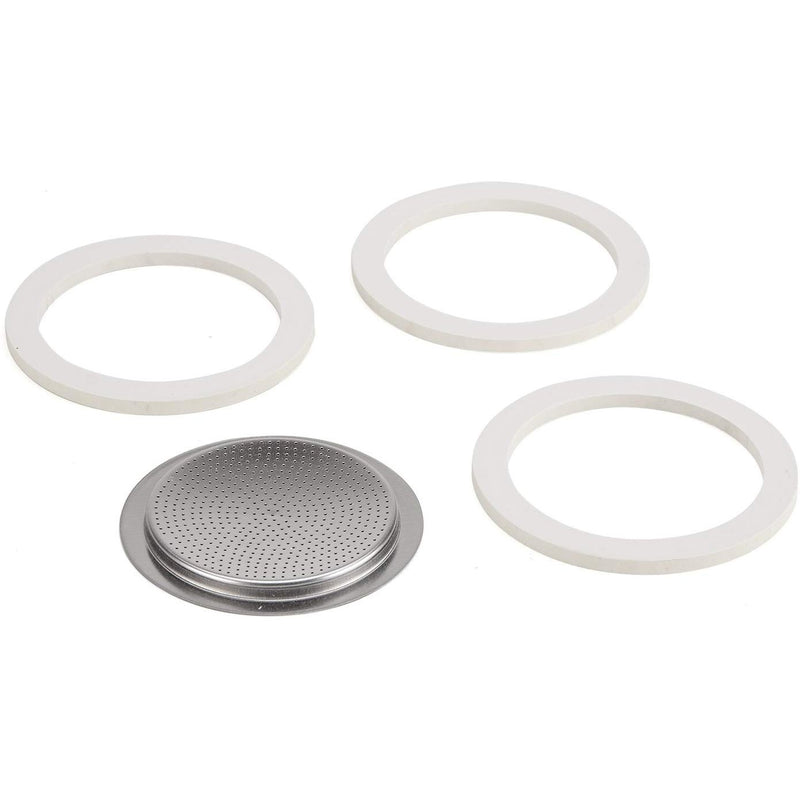 Gasket + Screen for 1/2 cup Vev Vigano & Kontessa Coffee Makers Stove Top Pots (Set of 3 Gasket + 1 Screen)