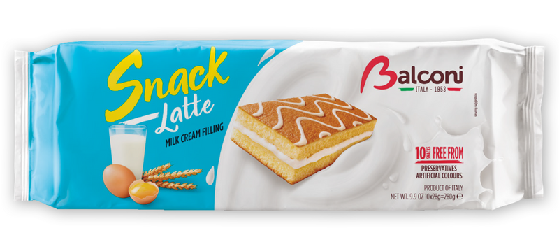 Balconi Milk Snack (Snack al Latte) Milk Cream Filing, 280g