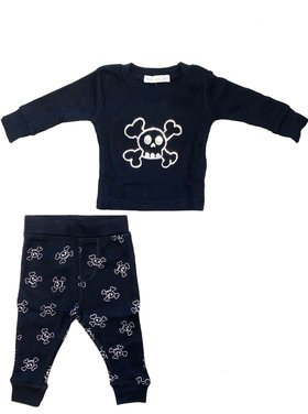 Little Mish - Thermal Pants Set - Silver Foil Skulls on Black