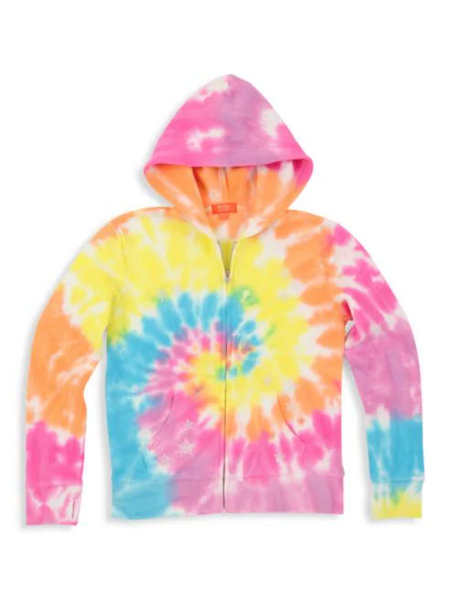 Butter Little Girl's & Girl's Fleece Zip-Front Tie-Dye Hoodie