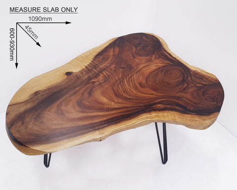 COF037- Live Edge Dark Brown Surfboard Coffee Table
