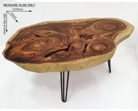 COF042- Dark Brown Raintree Wood Live Edge Coffee Table