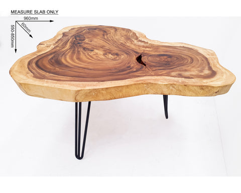 COF043- Live Edge Suar Wood Handcrafted Triangular Coffee Table